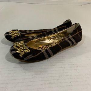 Sam Edelman Gold Check Plaid Flats Shoes 6.5 M